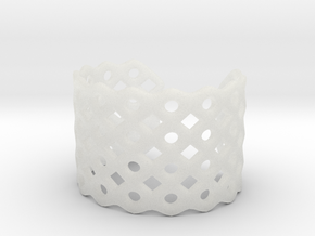 Circles & Squares Cuff (Size L)  in Smooth Fine Detail Plastic