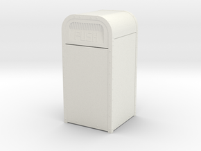"1:16 (3/4""=1') Scale Amusement Park Garbage Can in White Natural Versatile Plastic: d00"