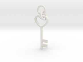 Cute Cosplay Charm - Heart Key (with links) in White Natural Versatile Plastic