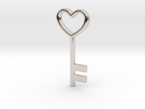 Cute Cosplay Charm - Heart Key in Rhodium Plated Brass