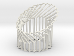 Wire Cylinder Zig-Zag with Cut Diagonal Shift  in White Natural Versatile Plastic