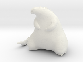 Cute Fat Godzilla in White Natural Versatile Plastic