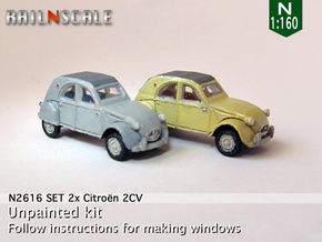SET 2x Citroën 2CV '61-'65 (N 1:160) in Smooth Fine Detail Plastic