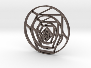 Cubist Rose in Polished Bronzed Silver Steel