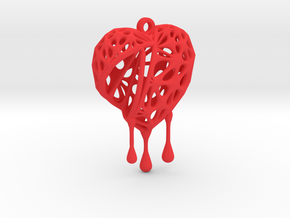 Open Heart Earring (Small001) in Red Processed Versatile Plastic