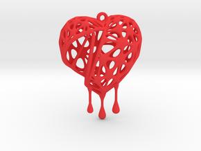 Open Heart Earring (Medium001) in Red Processed Versatile Plastic