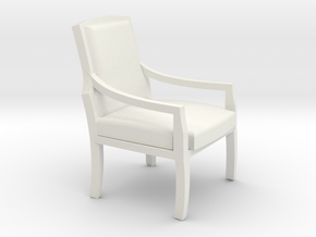 Arm Chair With Cushions in White Natural Versatile Plastic