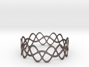 Braided Wave Bracelet (67mm) in Polished Bronzed Silver Steel