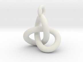 Trefoil Knot Pendant in White Strong & Flexible