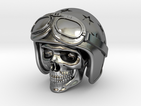 Easy Rider Skull (50mm H) in Polished Silver