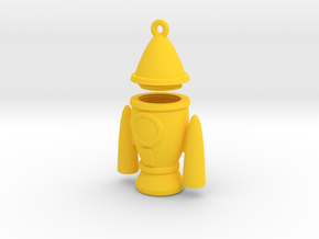 Rocket Pendant - Type-2 in Yellow Processed Versatile Plastic