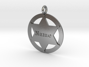 Sheriff's Star (6-point) Pet-Tag/Pendant (Thinner) in Natural Silver