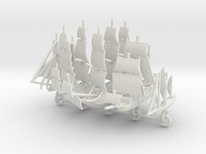 Custom Five-Ship Set Chain Version 2 in White Natural Versatile Plastic