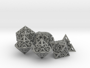 Gothic Rosette Dice Set with Decader in Gray PA12