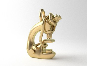 Snake on a Microscope Pendant in Polished Brass