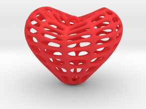 Eight Surface Heart Earring (001) in Red Processed Versatile Plastic