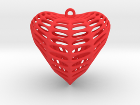 CrossCap Surface Heart Earring (001) in Red Processed Versatile Plastic