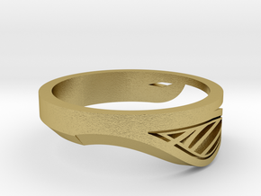 Modern Single Leaf Ring in Natural Brass