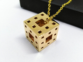 Menger Cube Pendant in 18k Gold Plated Brass