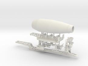 1/64th Sliding Cement Mixer Trailer in White Natural Versatile Plastic