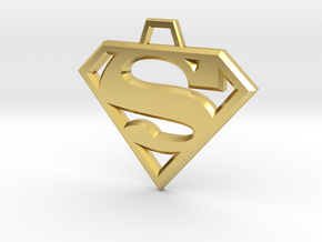 Superman Pendant in Polished Brass