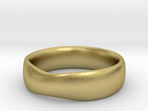 SMOOTH MOBIUS RING B in Natural Brass