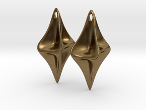 Pinched Silver Earrings in Natural Bronze