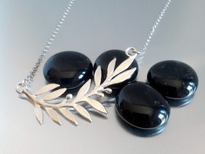 Olive Branch Pendant in Natural Silver