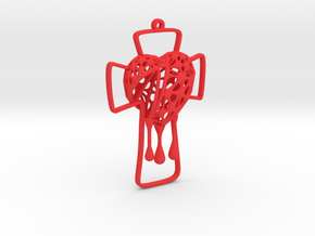 Voronoi Bleeding Heart + Cross Earring (001) in Red Processed Versatile Plastic