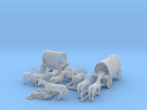 1-140 scale Wagons & Horses in Smooth Fine Detail Plastic