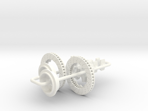 1/8 Modern 11.6 Inch Diam 4 Piston Disk Brake Setu in White Processed Versatile Plastic