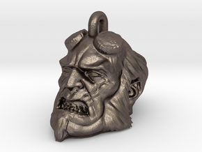 3D Printed Hellboy  Necklace in Polished Bronzed-Silver Steel