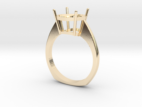 simple solitaire ring with one gemstone  in 14K Yellow Gold