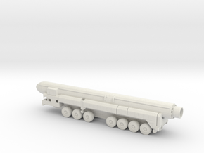 1/87 Scale Russian SS-25 RT-2PM Launcher W Missile in White Natural Versatile Plastic