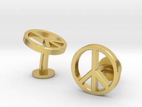 Peace Cufflinks in Polished Brass