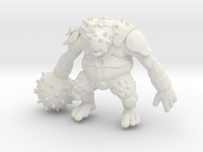Armored Ogre DnD 1/60 miniature for games and rpg in White Natural Versatile Plastic