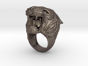 Tiger ring size 13 in Polished Bronzed-Silver Steel