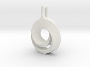 Möbius pendant in White Natural Versatile Plastic: Extra Small