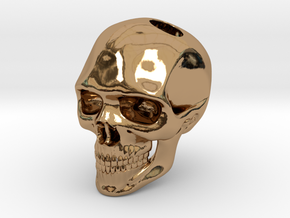 Realistic Human Skull (20mm H) - Pendant in Polished Brass