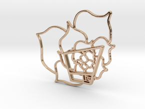 Golden Ratio Trapezoid With Chaos Flower - Pendant in 14k Rose Gold