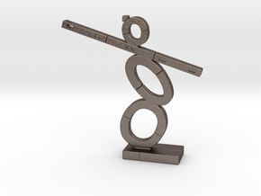 Total Medium Steel Statue in Polished Bronzed-Silver Steel