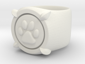 CHAT NOIR RING Size4 in White Natural Versatile Plastic