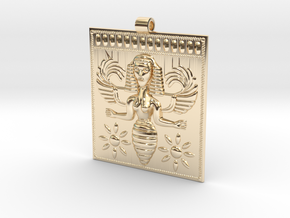 Etruscan Bee Goddess Pendant in 14K Yellow Gold