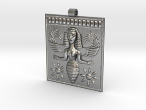 Etruscan Bee Goddess Pendant in Natural Silver