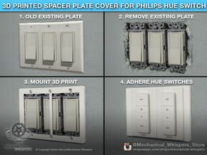 Philips Hue Dimmer Triple Gang Plate (US Decora) in White Natural Versatile Plastic