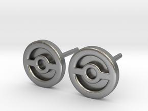 Pokeball Earrings - Full in Natural Silver: Small