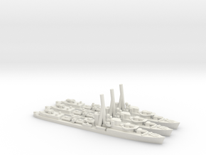 British J/K/N-Class Destroyer (x3) in White Natural Versatile Plastic