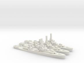British River-Class Frigate (x3) in White Natural Versatile Plastic