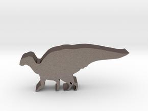 Dinosaur Island Meeple - Hadrosaurus in Polished Bronzed-Silver Steel