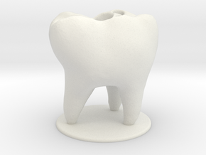 Tooth Toothbrush Holder in White Natural Versatile Plastic
